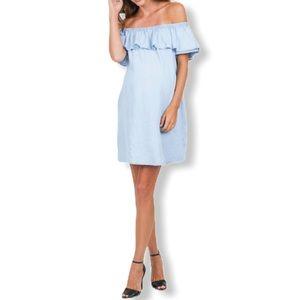 Octavia Maternity Off-Shoulder Tencel Ruffle Dress